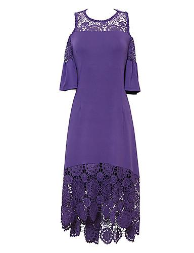 levne Šaty velkých velikostí-Dámské Základní Elegantní Pouzdro Swing Šaty - Jednobarevné, Vystřižený Midi