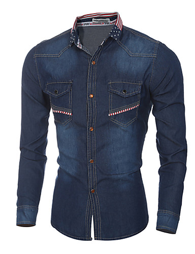 preiswerte Oberteile-Herrn Geometrisch / Einfarbig - Street Schick / Elegant Hemd Druck Blau