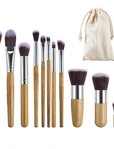 halpa Meikkisiveltimet-ammattilainen Makeup Harjat 11 erilaista Ekologinen Ammattilais Pehmeä Täysi kattavuus Mukava Puinen / bambu varten Makeup Set Meikkausvälineet Meikkisiveltimet Poskipunasivellin Alusvoidesivellin