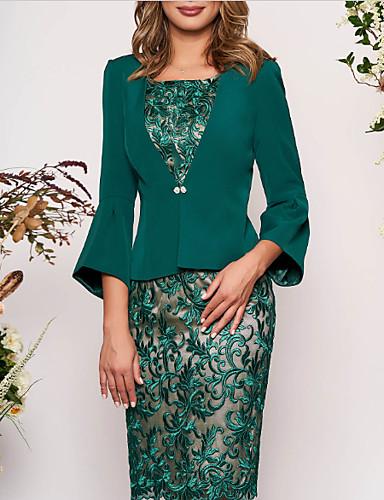 preiswerte Modische Kleider-Damen Elegant Schlank Zweiteiler Kleid - Spitze, Geometrisch Knielang