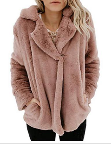 levne Dámské kabáty a trenčkoty-Dámské Denní / Jdeme ven Základní Podzim zima Standardní Kabát, Jednobarevné Přehnutý Dlouhý rukáv Umělá kožešina Černá / Světlá růžová