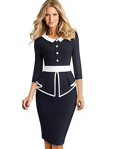 levne Pracovní šaty-Dámské Sofistikované Elegantní Bodycon Pouzdro Dvoudílné Šaty - Barevné bloky Jednobarevné, Se sukýnkou Patchwork Délka ke kolenům Černá a Bílá