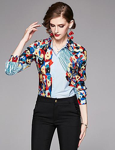 billige Dametopper-Skjorte Dame - Geometrisk, Trykt mønster Grunnleggende BLå & Hvit Lyseblå