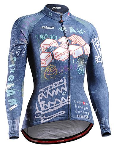 povoljno Biciklističke majice-21Grams Žene Dugih rukava Biciklistička majica Plava Bicikl Biciklistička majica Majice Brdski biciklizam biciklom na cesti UV otporan Prozračnost Quick dry Sportski 100% poliester Odjeća
