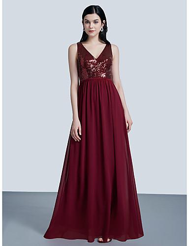 preiswerte Abendkleider-A-Linie V-Ausschnitt Boden-Länge Tüll Abiball / Formeller Abend Kleid mit Paillette / Plissee durch LAN TING Express