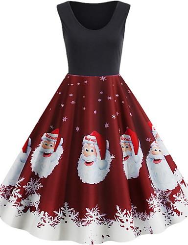 levne Vánoční obchod-Dámské Párty Elegantní Vypasovaný A Line Šaty - Sněhová vločka Délka ke kolenům