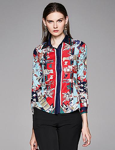 billige Dametopper-Skjorte Dame - Geometrisk, Trykt mønster Vintage Svart & Rød Rød