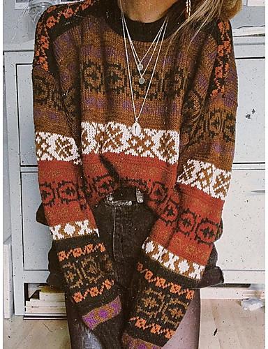 preiswerte Modische Pullover-Damen Einfarbig Langarm Pullover Pullover Jumper, Rundhalsausschnitt Khaki S / M / L