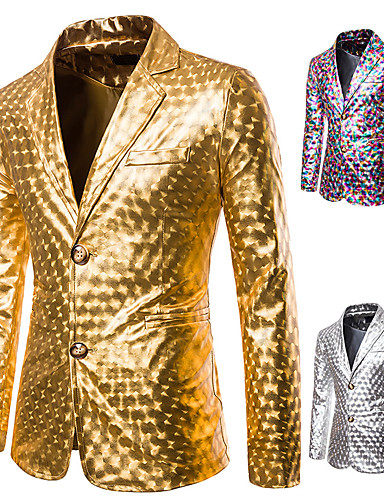 cheap Historical & Vintage Costumes-Disco 1980s Tuxedo Suits & Blazers Men's Sequins Costume Golden / Silver / Rainbow Vintage Cosplay Party Halloween Club Long Sleeve