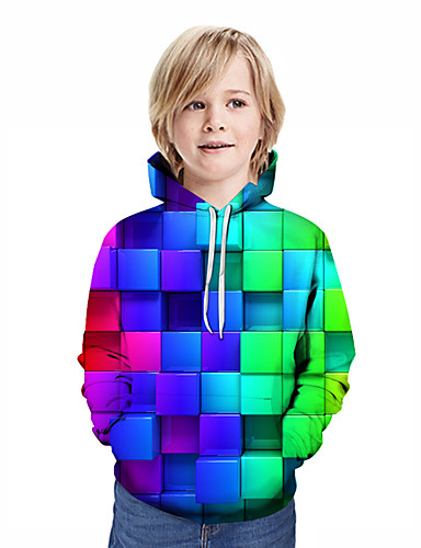 cheap Boys' Clothing-Kids Boys' Active Street chic Geometric 3D Patchwork Print Long Sleeve Hoodie & Sweatshirt Rainbow