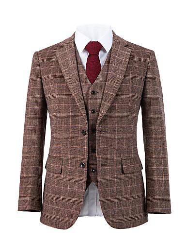 preiswerte Herren Überbekleidung in Übergröße-Ziegelrot karierter Tweed Wollanzug
