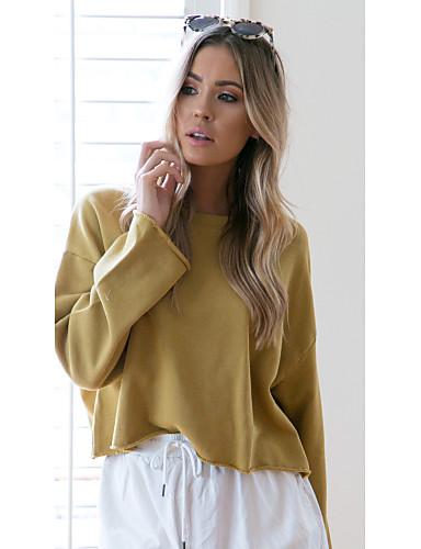 billige Dametopper-Dame Aktiv / søt stil Genser Ensfarget