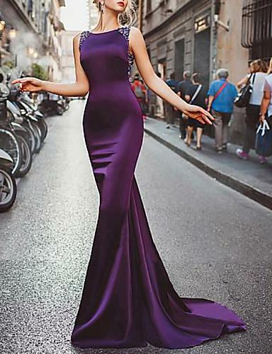 cheap Evening Dresses-Mermaid / Trumpet Elegant Formal Evening Dress Jewel Neck Sleeveless Sweep / Brush Train Satin with Beading 2020