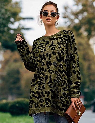 Dame Leopard Langermet Pullover Genserjumper Grønn / Kakifarget S / M / L