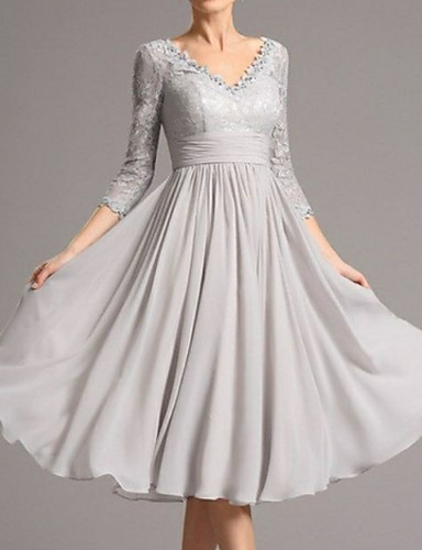 cheap Bridesmaid Dresses-A-Line Mother of the Bride Dress Plus Size V Neck Tea Length Chiffon 3/4 Length Sleeve with Appliques 2020 Mother of the groom dresses
