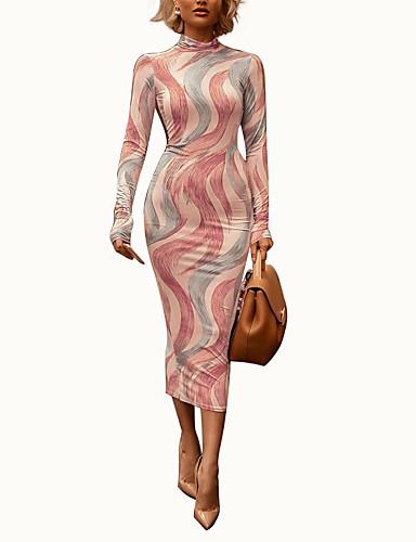 levne Šaty velkých velikostí-Dámské Šik ven Elegantní Bodycon Pouzdro Šaty - Geometrický, Rozparek Tisk Midi