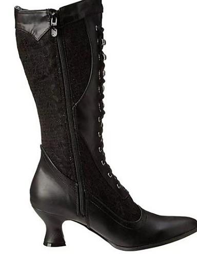 preiswerte Damen Stiefel-Damen Stiefel Komfort Schuhe Niedriger Heel Runde Zehe PU Mittelhohe Stiefel Winter Schwarz / Weiß