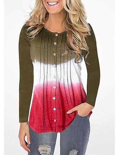 billige Dametopper-T-skjorte Dame - Fargeblokk, Lapper Grunnleggende BLå & Hvit Svart