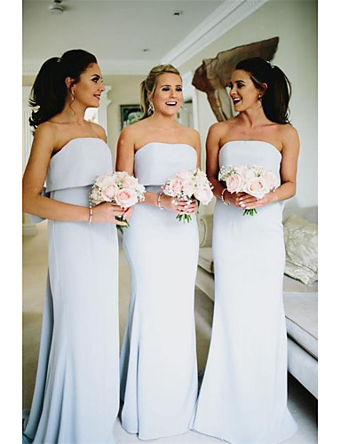 cheap Bridesmaid Dresses-Mermaid / Trumpet Strapless Sweep / Brush Train Jersey Bridesmaid Dress with Bow(s) / Ruffles
