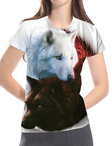 billige Dametopper-T-skjorte Dame - Fargeblokk / 3D / Dyr, Trykt mønster Grunnleggende / overdrevet Ulv / Fantastiske dyr Hvit