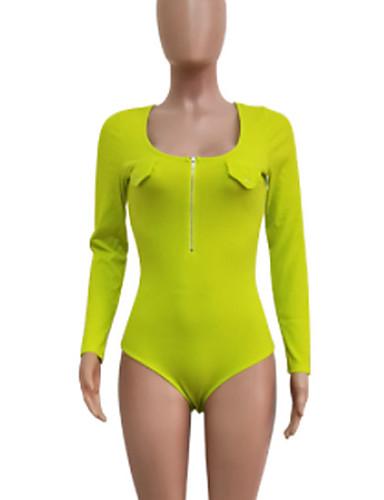 billige Jumpsuits og sparkebukser til damer-Dame Grunnleggende Svart Lysegrønn Grå Sparkedrakter, Ensfarget Lapper S M L