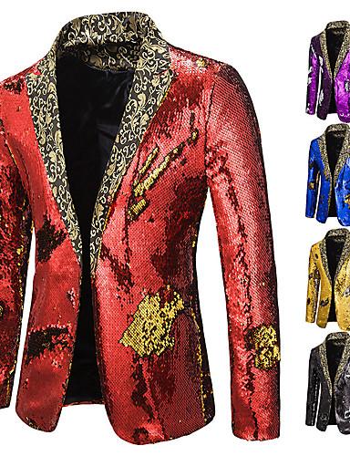 cheap Historical & Vintage Costumes-Disco Disco 1980s Tuxedo Suits & Blazers Men's Sequins Costume Black / Golden / Purple Vintage Cosplay Party Halloween Club Long Sleeve