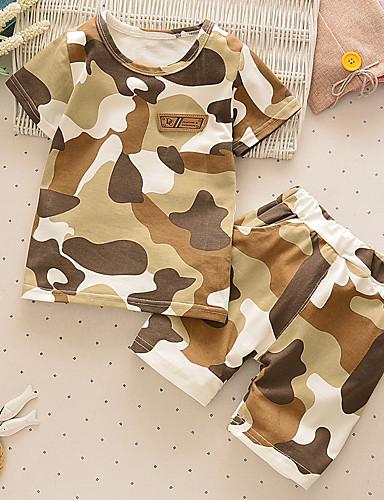 preiswerte Babykleidung Jungen-Baby Jungen Grundlegend Druck Kurzarm Standard Standard Kleidungs Set Braun
