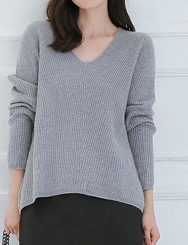 preiswerte Damen Oberteile-Damen Solide Langarm Pullover Pullover Jumper, Coiled Gola Weiß / Rosa / Braun M / L