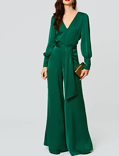 cheap Special Occasion Dresses-Jumpsuits Beautiful Back Green Wedding Guest Formal Evening Dress V Neck Long Sleeve Floor Length Chiffon with Sash / Ribbon 2020