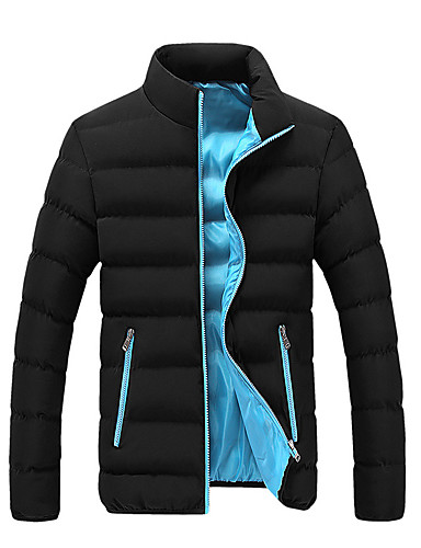 levne Pánské kabáty a parky-Pánské Barevné bloky Standardní S vycpávkou, Umělé hedvábí / Polyester / Směs polybavlny Oranžová / Armádní zelená / Vodní modrá US32 / UK32 / EU40 / US34 / UK34 / EU42 / US36 / UK36 / EU44