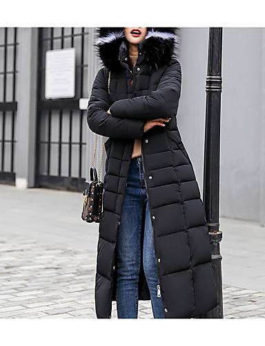 levne Dámské parky a paleta-Dámské Jednobarevné Dlouhý kabát, Polyester Černá / Bílá / Armádní zelená M / L / XL