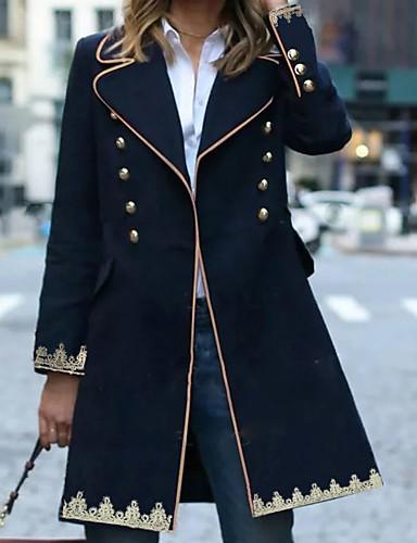 levne Dámské kabáty a trenčkoty-Dámské Denní Zima Standardní Kabát, Geometrický Kolopy do špičky Dlouhý rukáv Polyester Námořnická modř