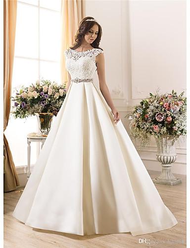cheap Wedding Dresses-A-Line Bateau Neck Court Train Lace / Chiffon Over Satin Regular Straps Vintage Backless Wedding Dresses with Lace 2020