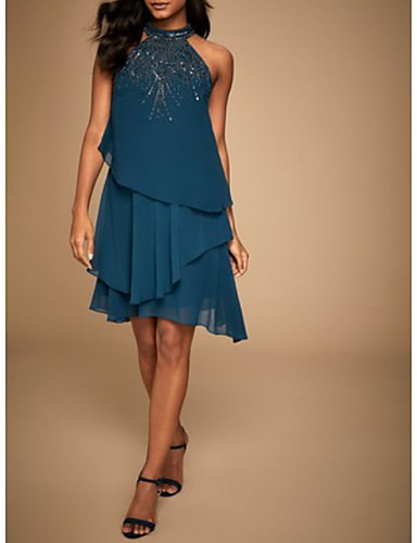 cheap Special Occasion Dresses-A-Line Elegant Hot Glittering Cocktail Party Formal Evening Dress Halter Neck Sleeveless Short / Mini Chiffon with Beading Tier 2020