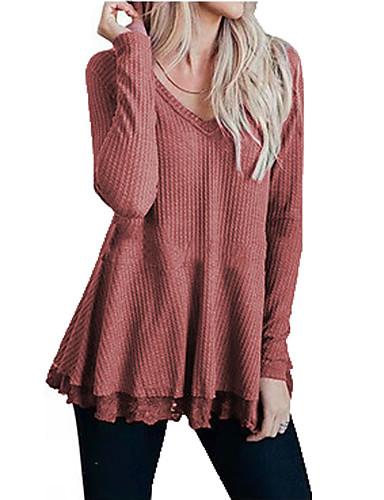 billige T-skjorter til damer-T-skjorte Dame - Ensfarget Svart