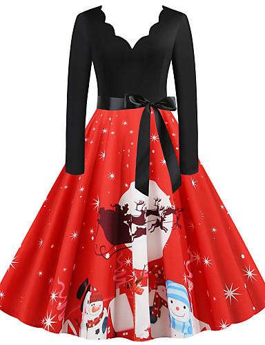 preiswerte Weihnachtskostüme-Kleid Weihnachtskleid Weihnachtsmann kleiden Erwachsene Damen Kleider Weihnachten Weihnachten Silvester Fest / Feiertage Elastan Rote Damen Karneval Kostüme Vintage Weihnachten Print