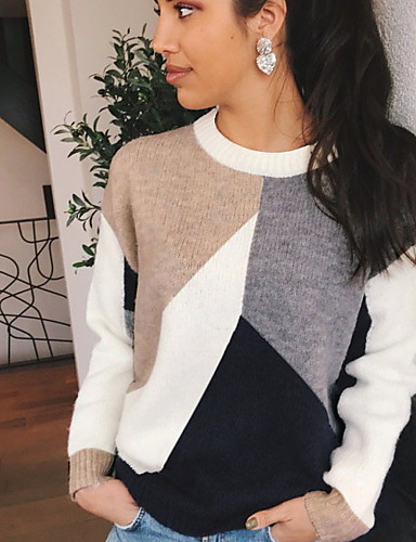 billige Trendy klær-Dame Fargeblokk Langermet Pullover Genserjumper Regnbue S / M / L