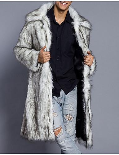 levne Pánská saka a kabáty-Pánské Denní Podzim zima Dlouhé Faux Fur Coat, Jednobarevné Přehnutý Dlouhý rukáv Umělá kožešina Černá / Světle šedá / Bílá