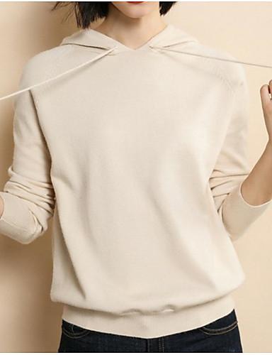 billige Dametopper-Dame Ensfarget Langermet Pullover Genserjumper, Med hette Svart / Hvit / Gul L / XL / XXL