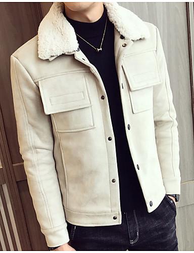 levne Pánská saka a kabáty-Pánské Denní Podzim zima Standardní Bunda, Jednobarevné Přehnutý Dlouhý rukáv Polyester Černá / Světle hnědá / Světlá růžová