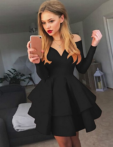 cheap Print Dresses-Women's A-Line Dress Short Mini Dress - Long Sleeve Solid Colored Layered Spring Fall Off Shoulder Sexy Cocktail Party Going out Birthday White Black Red S M L XL XXL