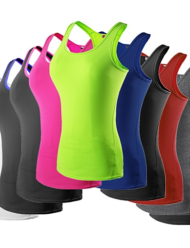 cheap Compression Clothing-YUERLIAN Women's Racerback Running Base Layer Compression Tank Top Athletic Breathable Quick Dry Exercise & Fitness Running Jogging Sportswear Vest / Gilet Tank Top Base Layer Top Red+Black Neon