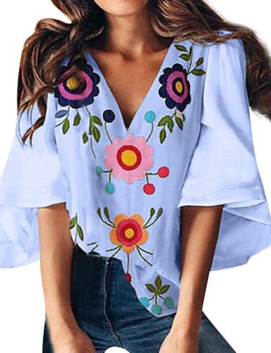 billige Dametopper-T-skjorte Dame - Blomstret, Trykt mønster Grunnleggende Solblomst Hvit