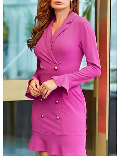 levne Pracovní šaty-Dámské Elegantní Shift Šaty - Jednobarevné Délka ke kolenům Košilový límec