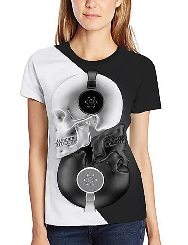 billige Dametopper-T-skjorte Dame - Fargeblokk / 3D / Hodeskaller, Trykt mønster Grunnleggende / overdrevet Svart og hvit Hvit