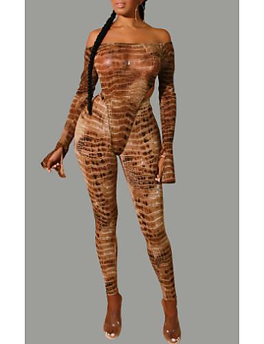 billige Dametopper-Dame Grunnleggende Sett Bukse Stripet / Leopard