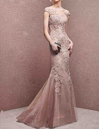 cheap Special Occasion Dresses-Mermaid / Trumpet Boat Neck Floor Length Lace Open Back Formal Evening Dress with Appliques by LAN TING Express