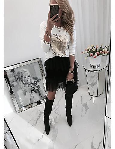 billige Dametopper-Bluse Dame - Ensfarget, Trykt mønster Grunnleggende Hvit