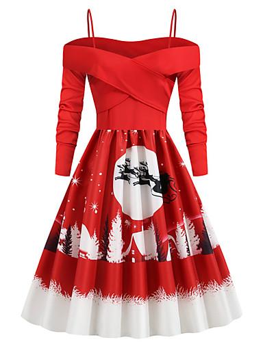 levne Vánoční obchod-Dámské Párty Vintage Elegantní A Line Šaty - Zvíře Sněhová vločka, Plisé Patchwork Tisk Délka ke kolenům Sněhová vločka Sněhulák