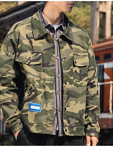 levne Pánská saka a kabáty-Pánské Denní Podzim zima Standardní Bunda, maskování Přehnutý Dlouhý rukáv Polyester Světle šedá / Armádní zelená / Tmavě šedá